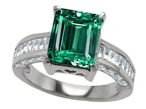 Original Star K(tm) Emerald Cctagon Cut Simulated Emerald Engagement Ring  crafted in .
