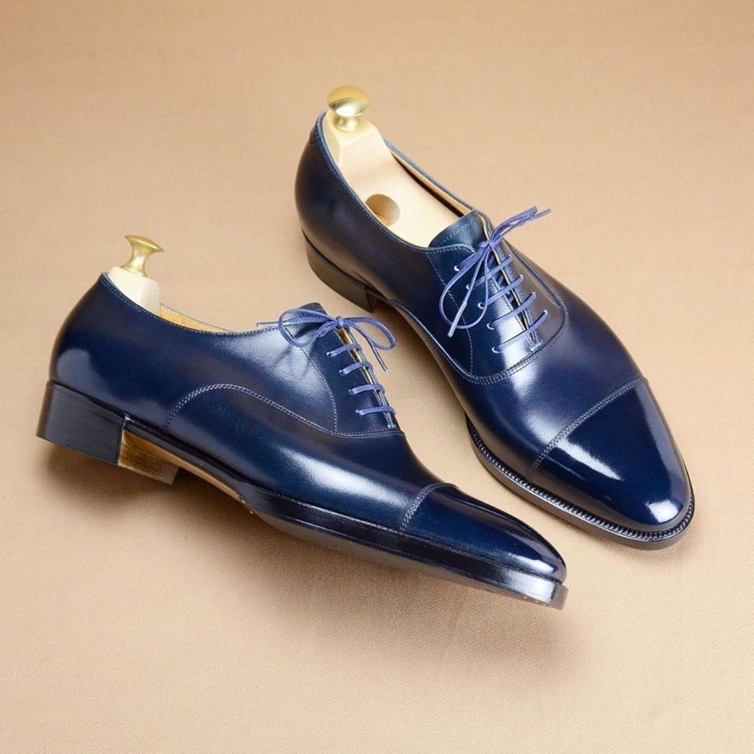Handmade Leather Oxford Navy Blue Colour Cap Toe Formal