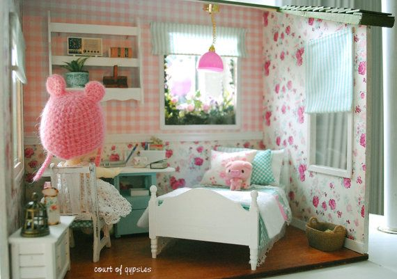 Dollhouse Roombox for your Tiny BJD Lati Yellow by AtomicBlythe, $355.00
