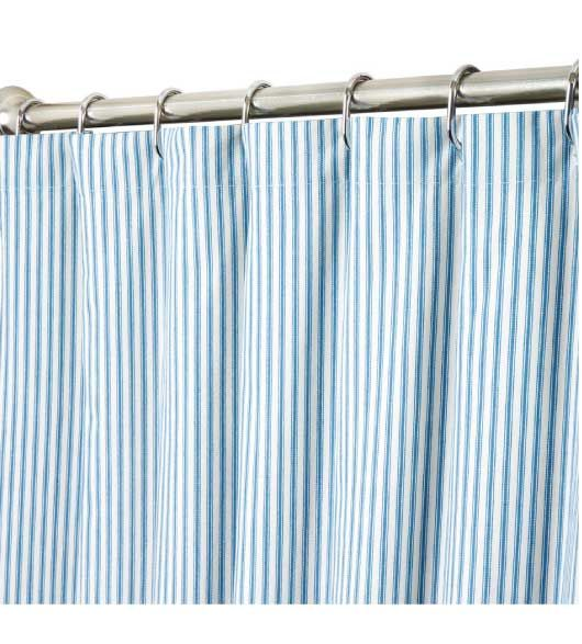 Extra Long Shower Curtains Blue Ticking Comes In Various Lenghts