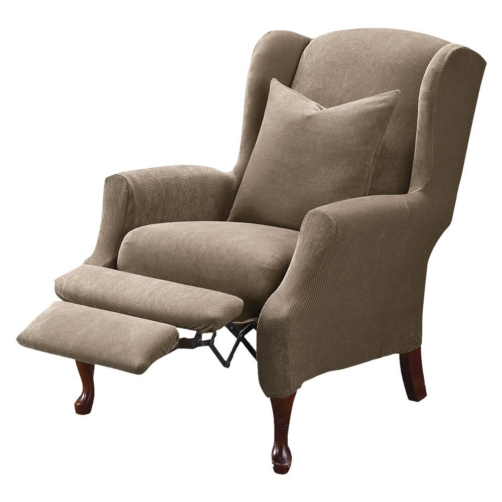Sure Fit Stretch Pique Wing Recliner Slipcover (With