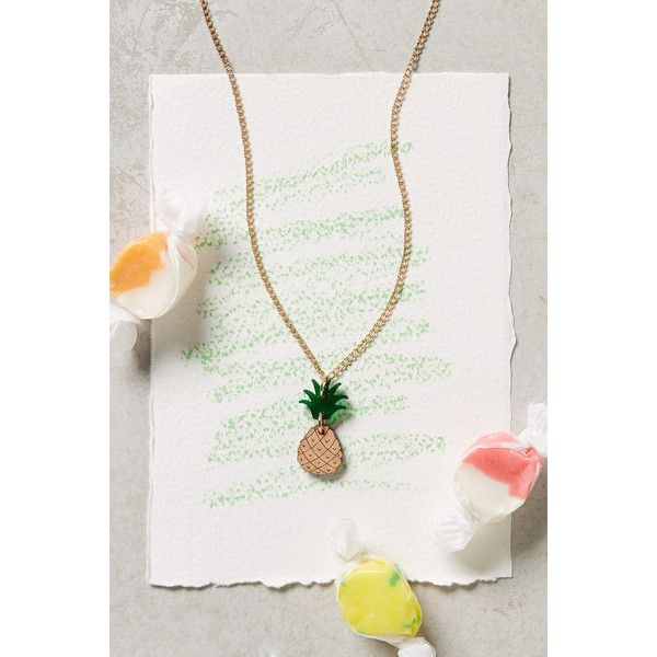 Anthropologie Playdate Necklace ($12) ❤ liked on Polyvore featuring jewelry, necklaces, pineapple, anthropologie jewelry, anthropologie necklace, anthropologie, wooden necklace and wooden jewelry