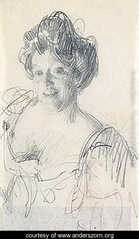 Portratt Av Kvinna (Portrait Of A Lady) - Anders Zorn