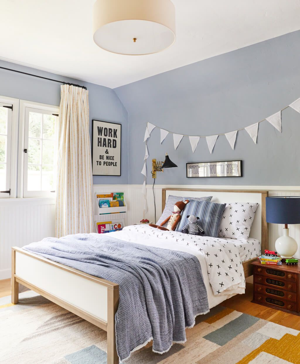 Very Colorful Bedroom: Blue, Mustard And White Make For A Very Cute Color Palette