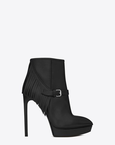 SAINT LAURENT CLASSIC JANIS 105 FRINGED ANKLE BOOT IN BLACK LEATHER | YSL.COM