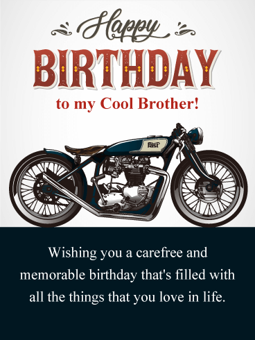 Vintage Motorcycle Happy Birthday Card For Brother Birthday Greeting Cards By Davia Birthday Wishes For Brother Happy Birthday Motorcycle Birthday Cards For Brother