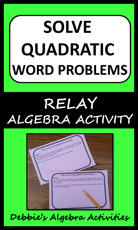 Solve Quadratic Word Problems Relay Activity Graphing