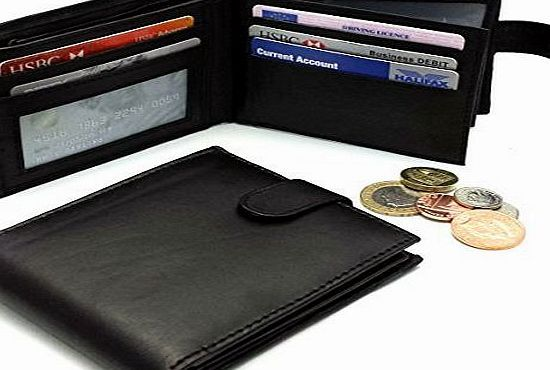 MENS NEW HIGH QUALITY LUXURY SOFT GENUINE BLACK LEATHER WALLET ID PHOTO CARD