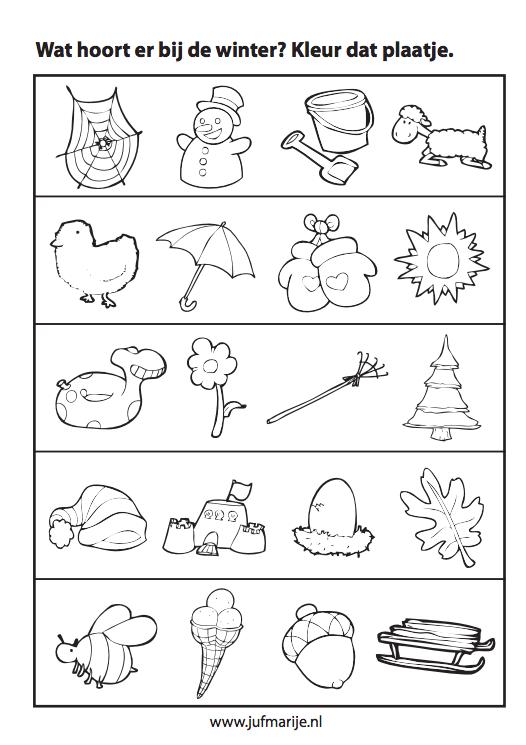 Werkblad sorteren: Wat hoort er bij de winter? #themawinterpeuters