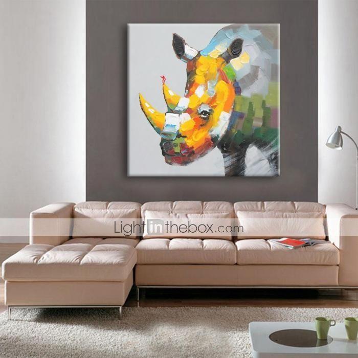 Pintada a mano Animal Un Panel Lienzos Pintura al óleo pintada a ...