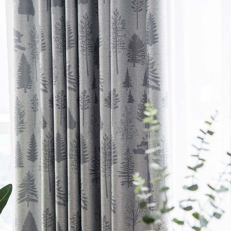 Modern Simple Curtain Pine Tree Printing Curtain Living Room Bedro In 2020 Simple Curtains Tree Curtains Curtains #printed #curtains #for #living #room