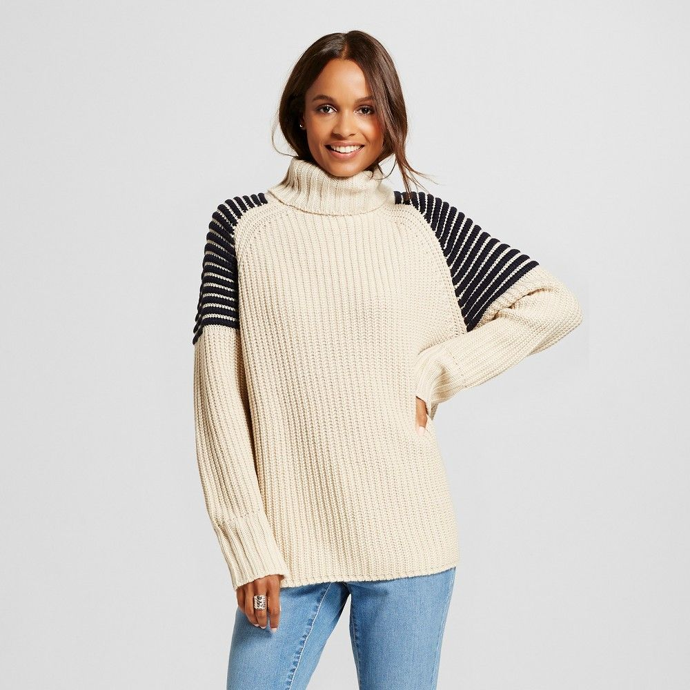 Women's Ribbed Turtleneck Sweater with Striped Shoulders - Cream ...