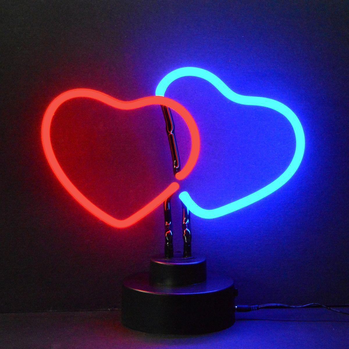 Neon A Accrocher Au Mur double cœur   art néon, néon et néon deco