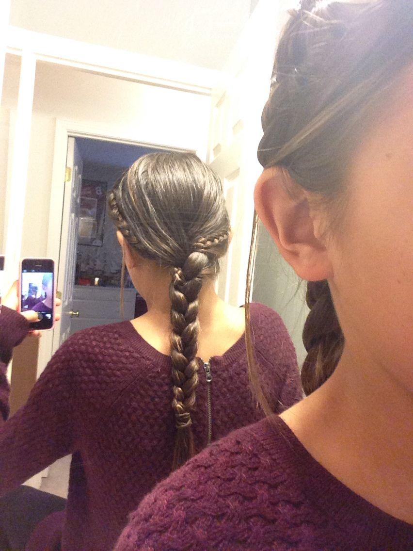 2 simple braids from the sides. Then just do an original braid with all your hair