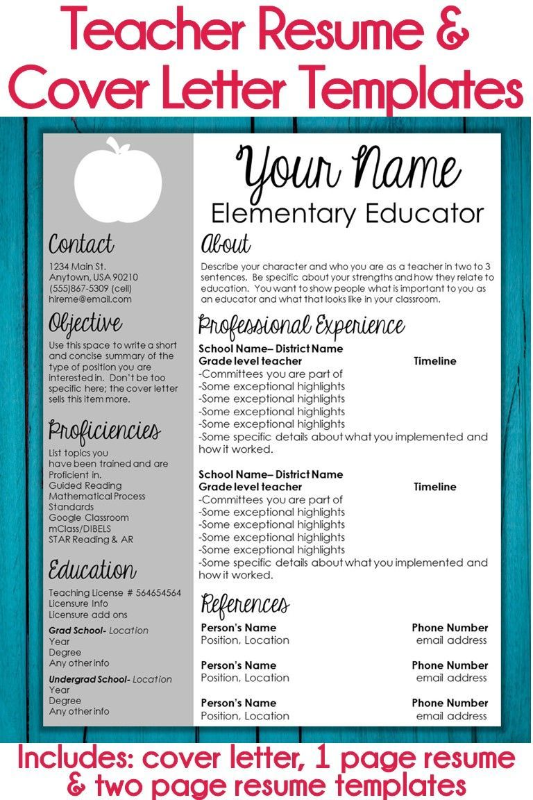 Teaching Resume Templates These Editable Teacher Resume Templates And Cover Letter Templates .