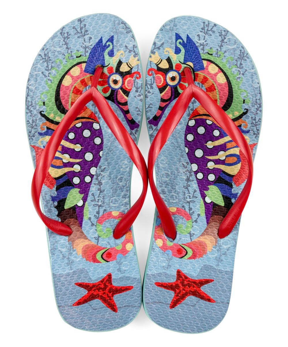 88e101d52a0ae1 Rhino Flops Blue   Red Seahorse Flip-Flop - Women