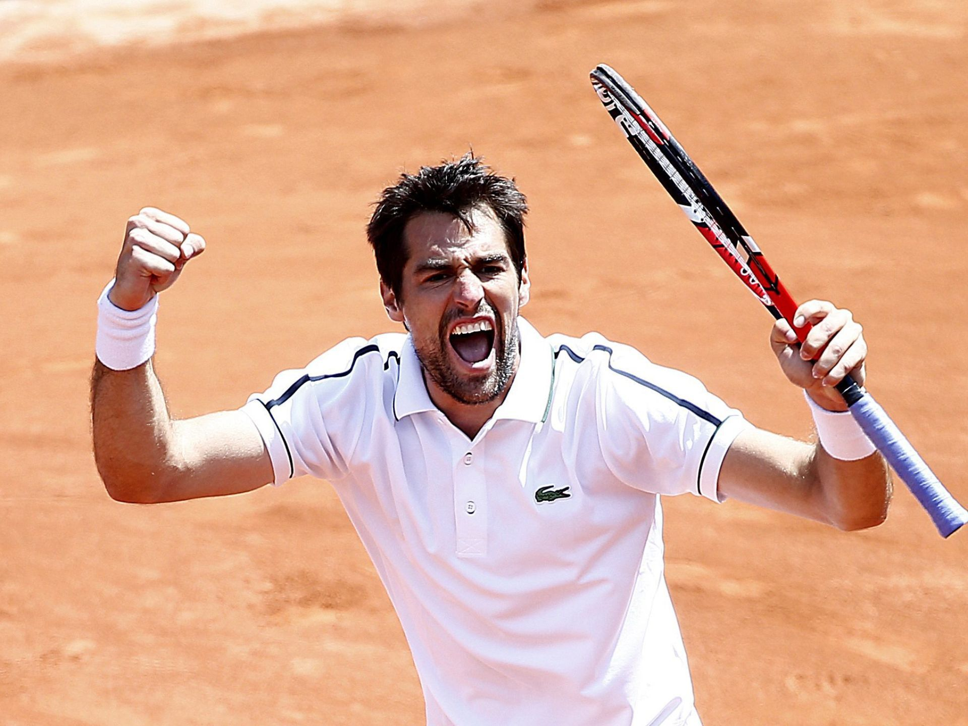 Jeremy Chardy of France celebrates after winning against David Goffin in the French Open.  Ian Langsdon, EPA