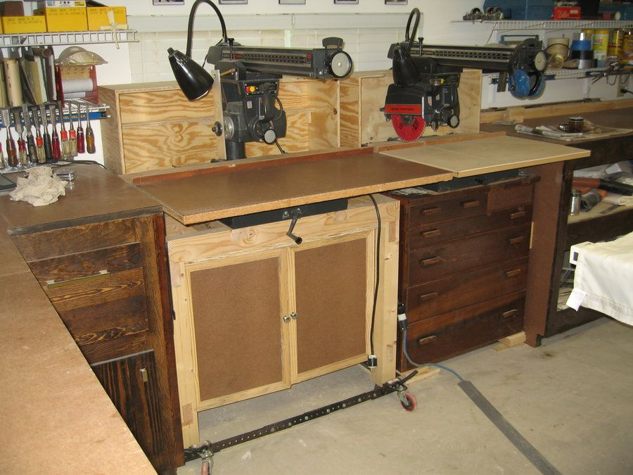 Radial Arm Saw Cabinet Radial Arm Saw Pinterest Woodworking Shop Organization And