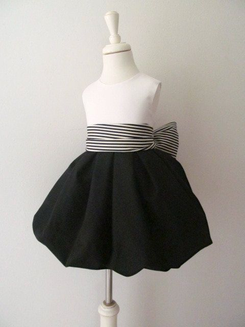 Halloween Wedding Black And White Flower Girl Dress With Black And