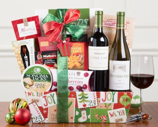 red and white wine christmas duet gift basket at wine country gift baskets