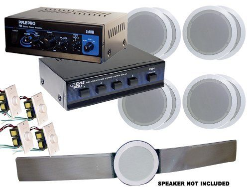 """Pyle Home Deluxe Full Amplifier/Speaker Package -- PTA2 Mini 2x40W Stereo Power Amplifier + PSS4 4-Channel High Power Stereo Speaker Selector + """"Four"""" sets of PDIC51RD 5.25-Inch 2-Way In-Ceiling Dual Speakers Systems by GSI. $259.99. A complete Home Audio system, featuring the best of the world class line from Pyle Home. Every product by itself is a bestseller, and together they will create the most amazing crystal clear sound."""
