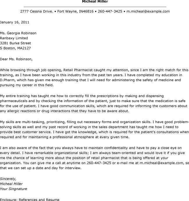 Cover Letter Sample For Pharmacist Job - Pharmacist Cover ...