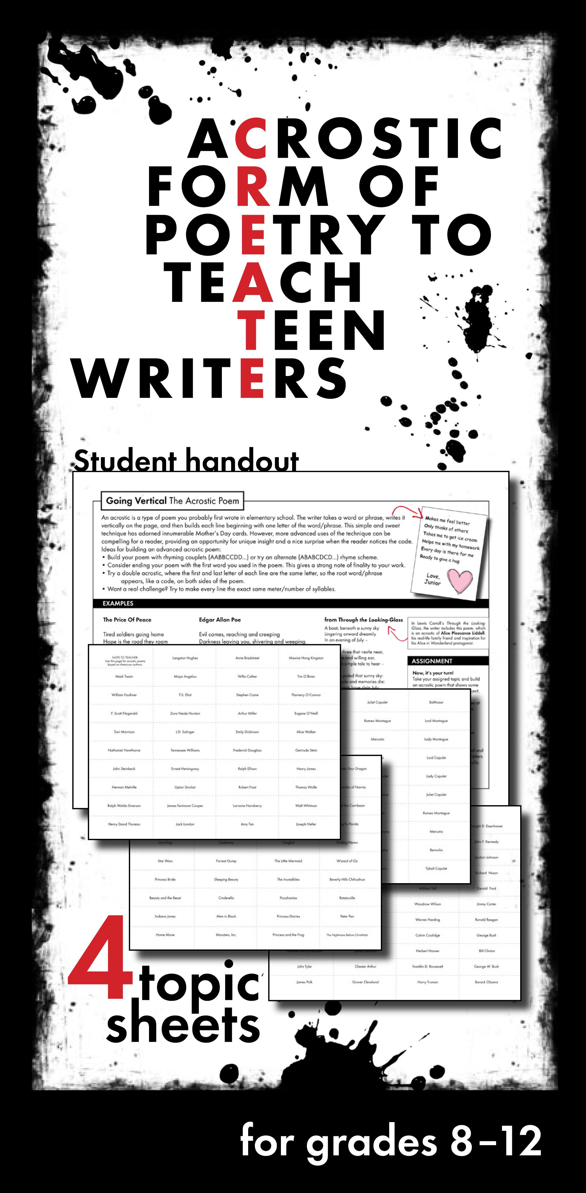 Acrostic Poetry For Teens High School And Adv Middle