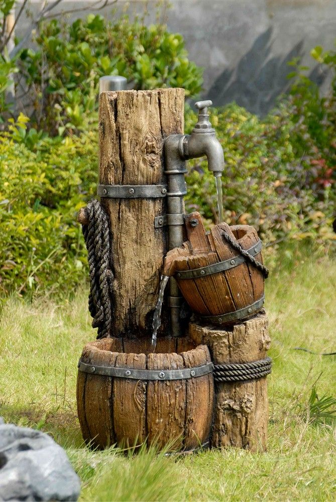 26.8″ Wood Cask Fountain without Light