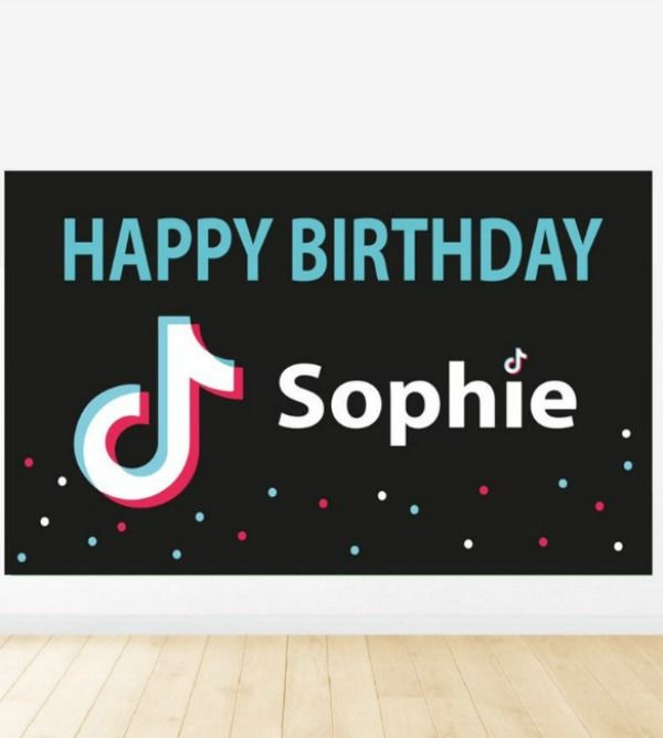 Add This Cool Tiktok Themed Backdrop To Your Dessert Table And With Hardly Any Effort You Ve Bday Party Kids Girls Birthday Party Themes Easy Party Decorations