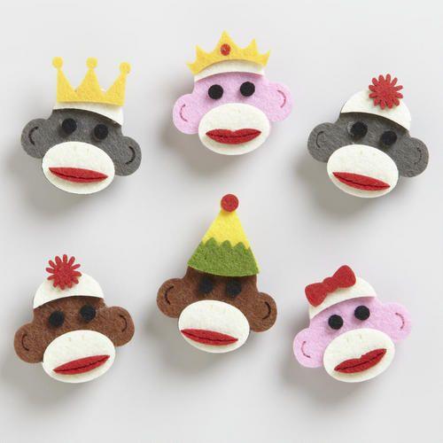 Felt Sock Monkey magnets, easy diy craft for kids