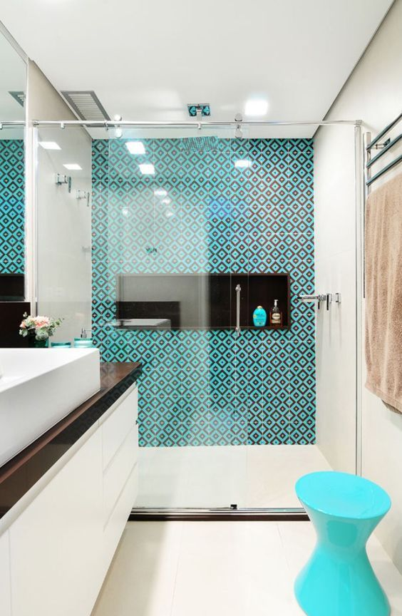 30 Diseños de baños decorados con azul turquesa - diseos de baos