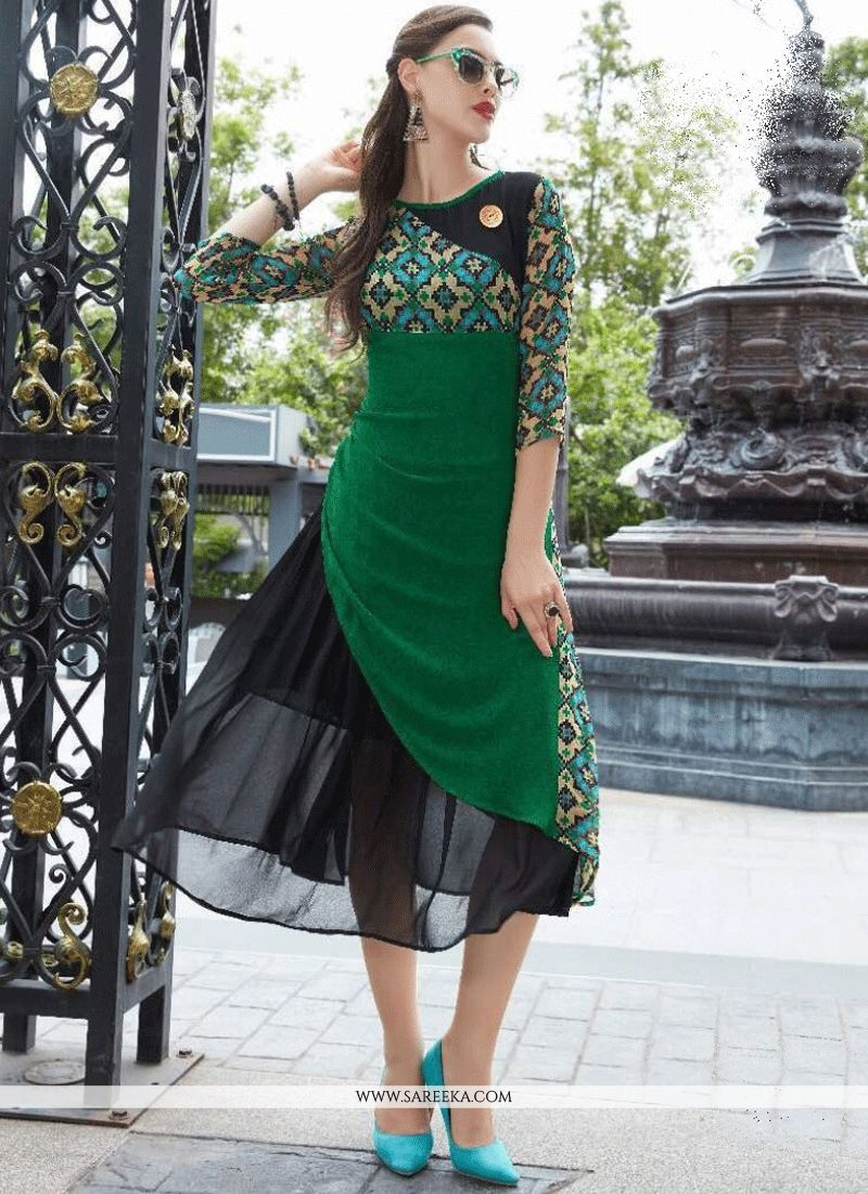42b74798b4 Faux Georgette Party Wear Kurti | salwars | Fashion, Kurti, Denim kurti