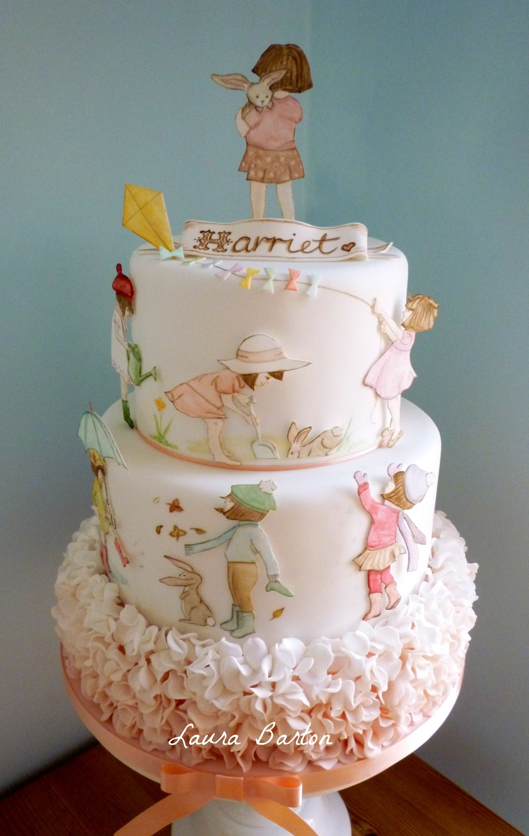 hand painted Belle & Boo cake with ruffles