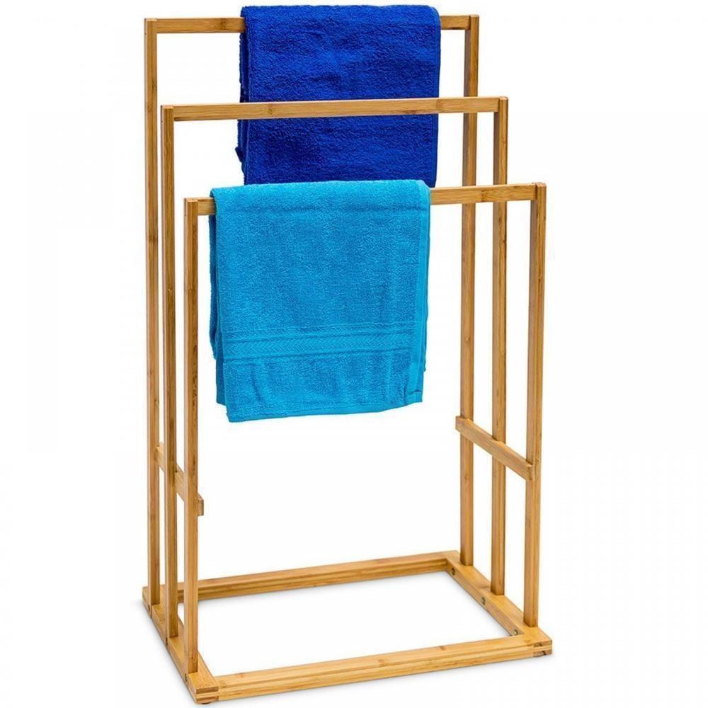 Bathroom Wooden Towel Rail 3 Tier Rack Bar Bamboo Freestanding ...