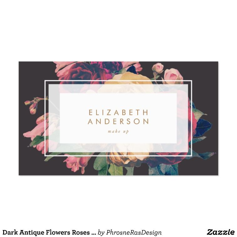 Dark Antique Flowers Roses Business Card