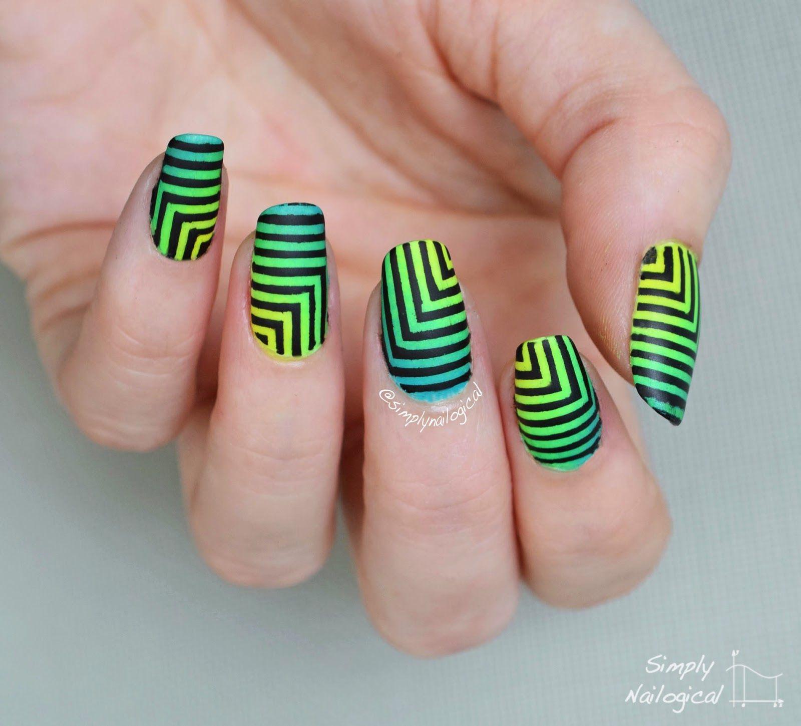 Simply Nailogical Nail Art: Simply Nailogical: Hypnotizing Black Neon Squares