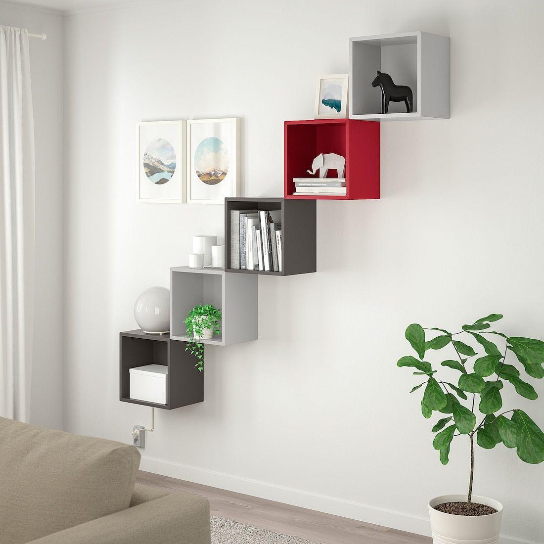 Eket Wall Mounted Storage Combination Light Gray Dark Gray Red Ikea Eket Wall Shelves Design Ikea Eket