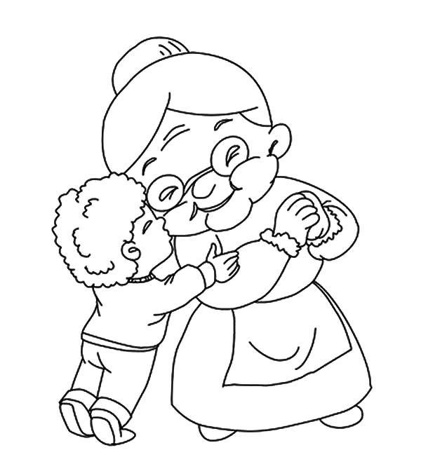 A Boy Kiss His Grandmother Coloring Pages Color Luna Coloring Pages Cartoon Tattoos Colorful Drawings