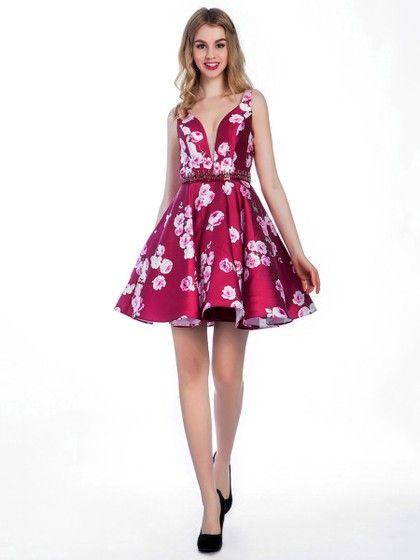 Fashionable A-line V-neck Satin with Beading Short/Mini Prom Dresses - dressesofgirl.com