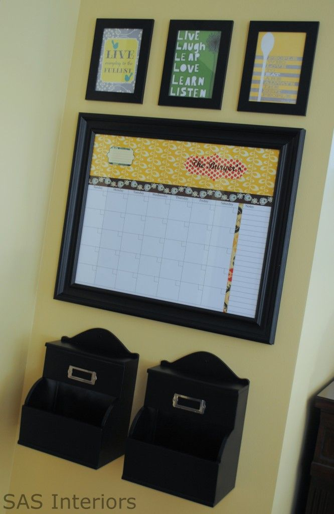 Command Center for the kitchen, love the white board Organize The