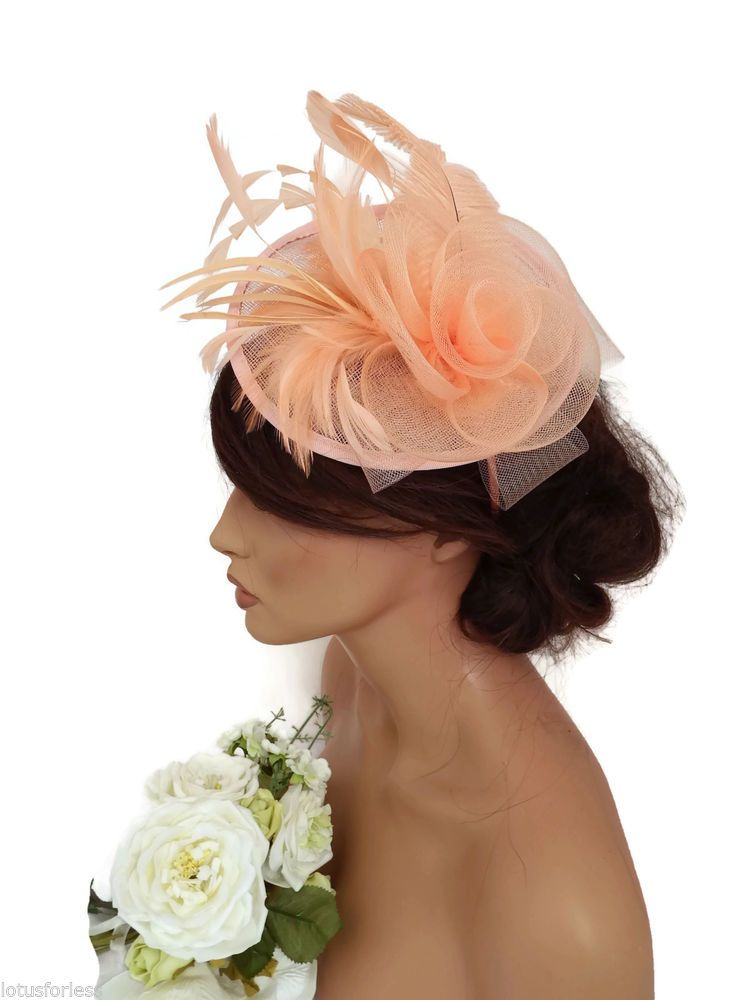 Elegant Light Coral Peach Mesh Net Bow Headband Fascinator Hatinator  Feathers fc9cc45bbdb