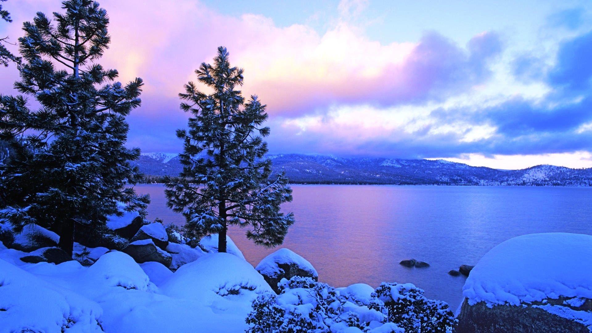 Nature Winter Lake Colors Wallpaper Details Tahoe ...