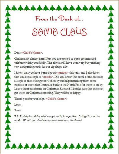 A Letter From Santa To Your Child With Food Allergy  Fare Blog