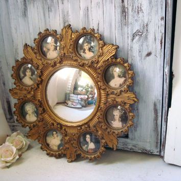 Vintage Cameo Round Mirror with Small Frames, Victorian Inspired ...
