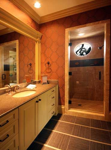 Transitional bathroom designed by Tracy Rasor and Alana Villanueva, Dallas  Design Group Interiors, and