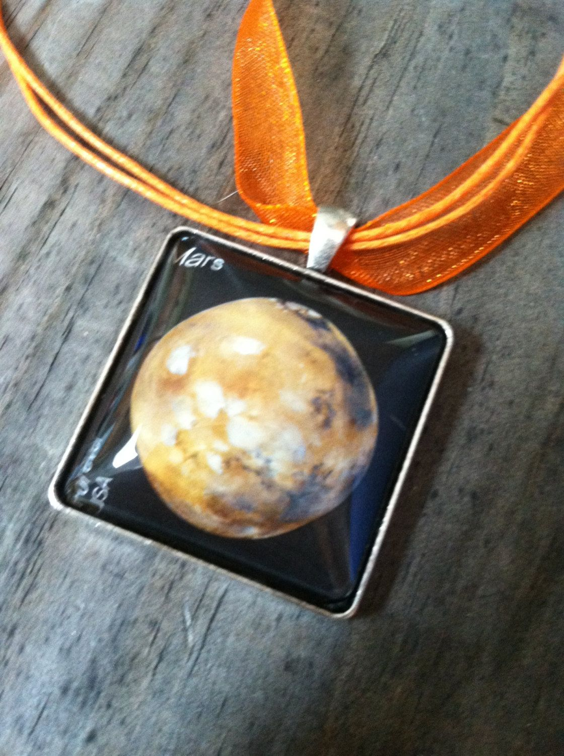 Mars Necklace ~Planet Necklace ~  Dome Pendant Tray Necklace ~ Postage Stamp Jewelry ~ Forever Stamp ~ Solar System Necklace by MichellesVarietyShop on Etsy
