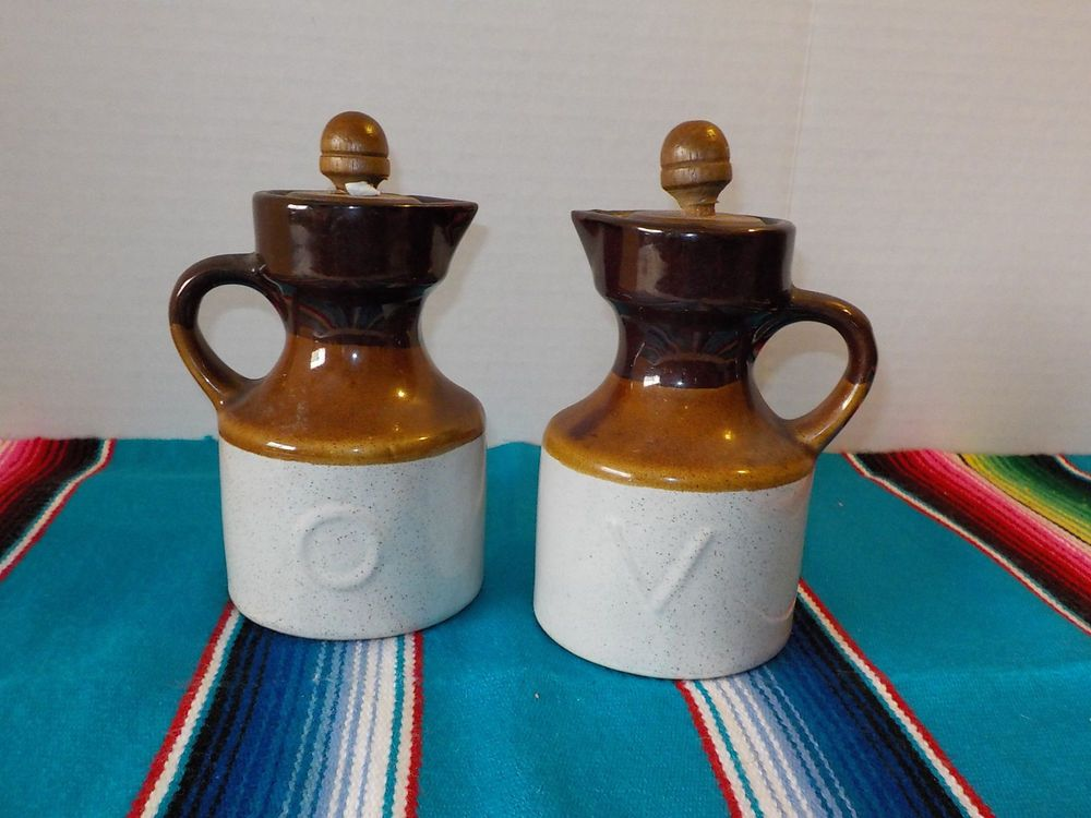 Vintage Stoneware Pottery Milk Jug Oil Amp Vinegar Dispenser