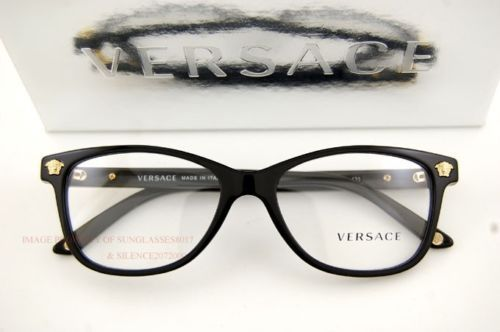 d0ff9687facb Brand New Versace Eyeglass Frames 3153 945 Black Gold for Women 100  Authentic
