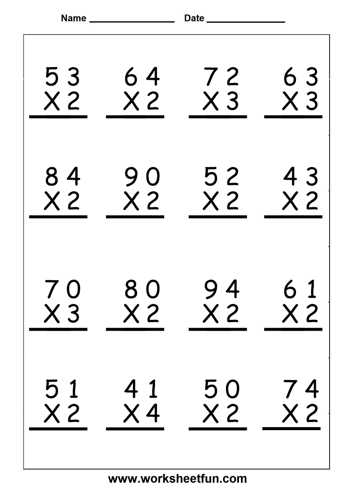 hight resolution of multiplication worksheets grade 5 - Google Search   Math fact worksheets
