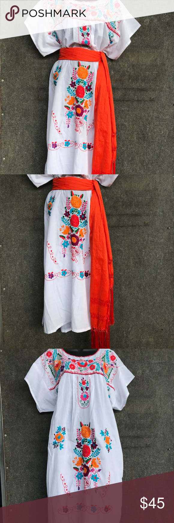 Embroided dress Size L/Xl made in Mexico orange shall not included color white Dresses Midi